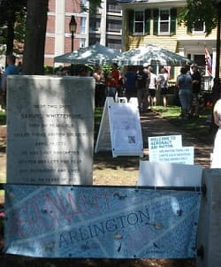 Signs for the Aeronaut beer garden share Whittemore Park with the historical marker for local hero Sam Whittemore. / Bob Sprague photo